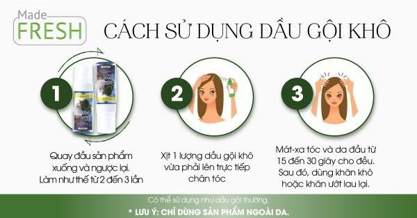 cách sử dụng dầu gội đầu khô madefresh hiệu quả
