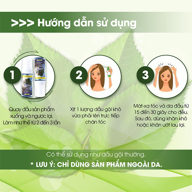 Hướng dẫn sử dụng dầu gội đầu khô madefresh dry shampoo