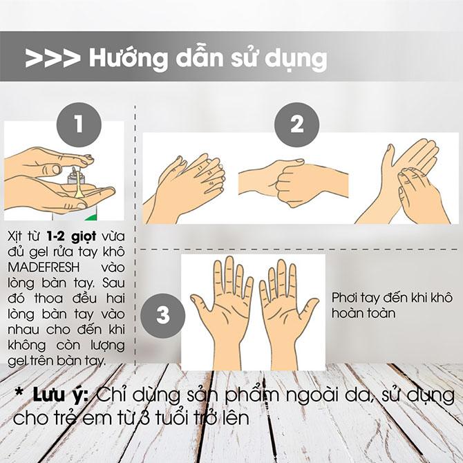 Hướng dẫn sử dụng gel rửa tay khô không mùi madefresh