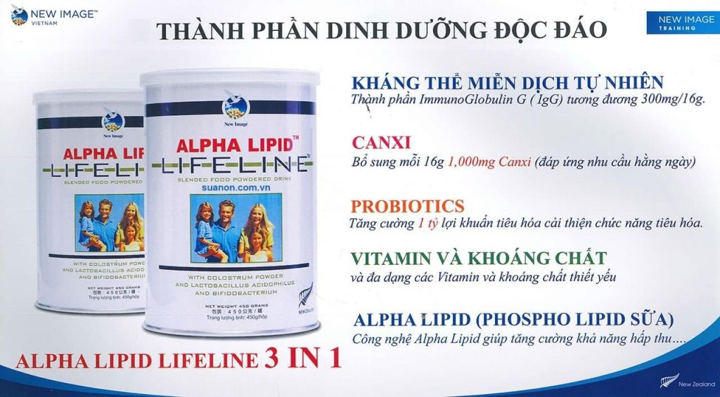 Thành phần dinh dưỡng độc đáo của sữa non Alpha Lipid Lifeline